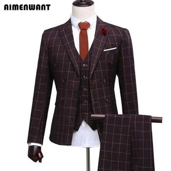 AIMENWANT Classic Custom Made Men Blazers Vintage Gentleman Tailored Slim Fit Wedding Suits For Men 3-Piece (Jacket+Pants+Vest)