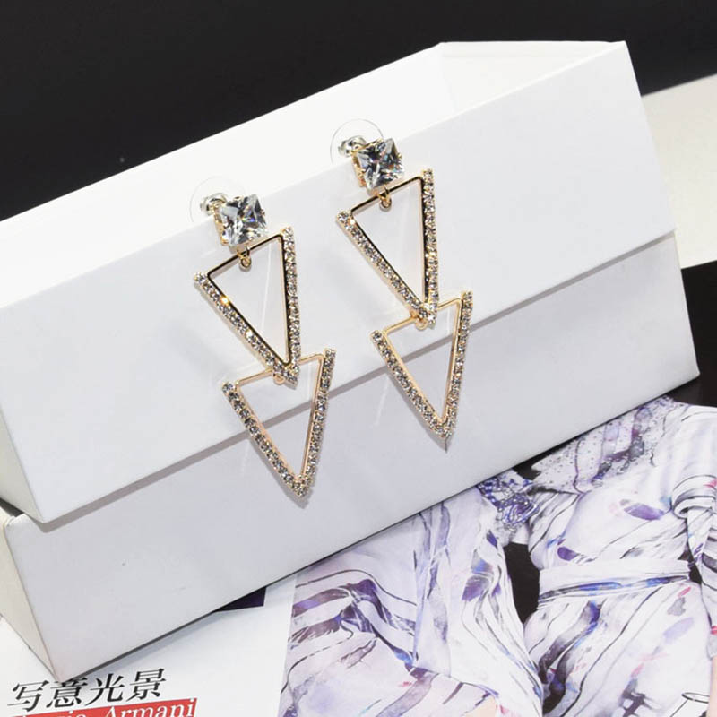 Europe and America Personality Jewelry Simple Fashion Triangle Exquisite Inlaid Zircon Earrings For Women Exaggeration Earrings