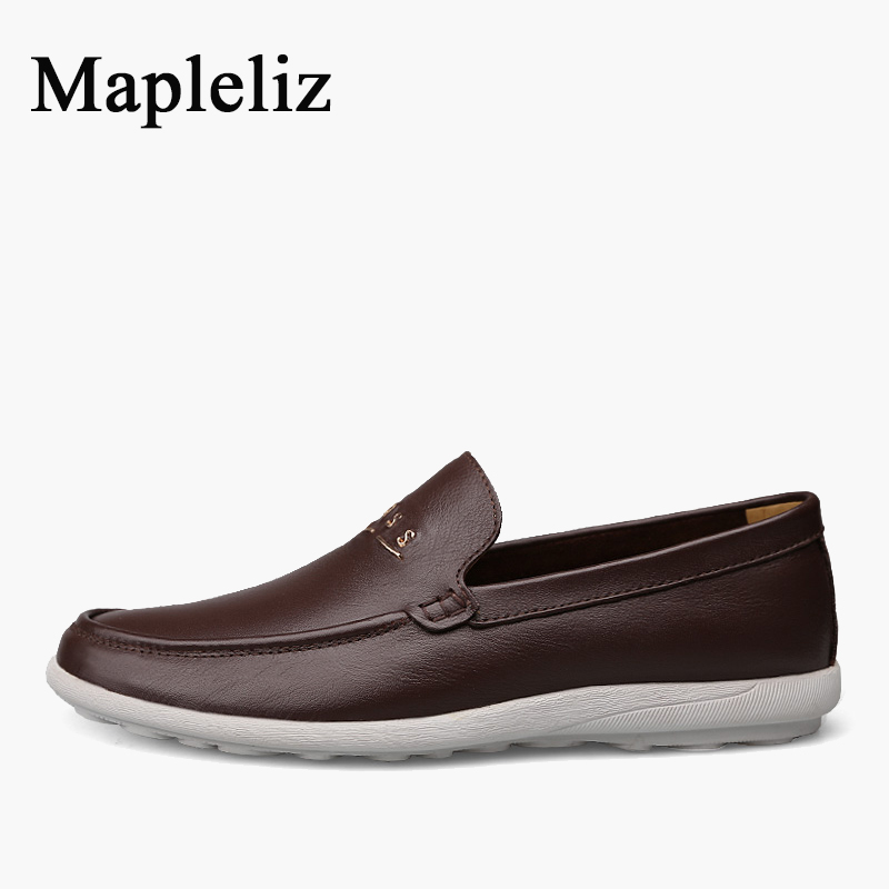 Mapleliz Brand Men Loafers Genuine Leather Casual Fashion Breathable Soft Male Flats High Quality Slip-On Men Shoes new casual men shoes loafers high quality faux suede leather fashion breathable male slip on light shoes men flats soft shoes