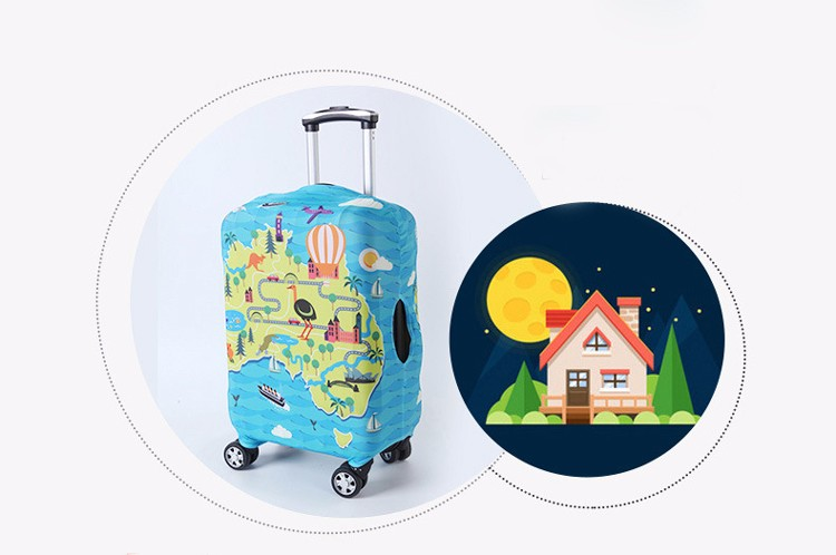 TRIPNUO Thicker Blue City Luggage Cover Travel Suitcase Protective Cover for Trunk Case Apply to 19''-32'' Suitcase Cover 15