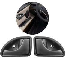 2 adet/takım Araba iç kol Iç Kapı Paneli Çekme ayar kapağı Siyah Sol Sağ RENAULT KANGOO TWINGO Için