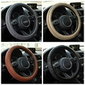 Braid Red Leather Steering Wheel Cover 3D Non-slip Design Fits Car Steering Wheel Diam 38cm,Black Brown Gray Beige Free Shipping