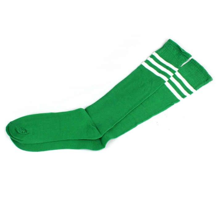 1 คู่ต้นขาถุงเท้าสูงกว่าเข่าหญิงเชียร์ลีดเดอร์ถุงเท้าฟุตบอลถุงเท้า bota cano longo feminina # yl