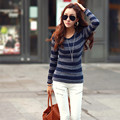 2016 NewTops Fashion Clothing New Arrivals Tees Women's Stripe Shirt Long Sleeve Round Neck Color Block T-Shirt