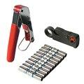 F RG6 RG59 Connectors Coax Coaxial Crimper Wire Stripper Compression Crimper Tool Kit