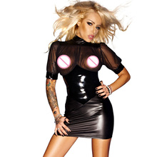 Mesh Chiffon Club Short Sleeve Mini Dress Wetlook Kleid Vinyl Leather Clubwear Vedtido De Festa Sexy Nightwear 860709