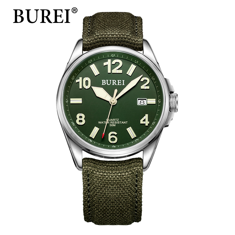 BUREI Top Brand Watches New Fashion Military Digital Wristwatches Leather Canvas Male Clock Waterproof Sapphire Watch Hot Sale 2017 burei men watches top brand fashion clock genuine leather strap casual saat erkekler watch waterproof wristwatches hot sale
