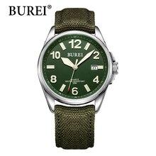Burei Мужчины Смотреть Мода Повседневная Спорт Кварцевые Наручные Часы Luxury Brand Дата Телячьей Военная Часы Мужчины 2016 мужская Спортивная