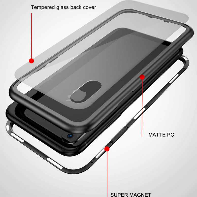 360 الامتزاز المغناطيسي حقيبة لهاتف أي فون XR XS Max X فاخر مغناطيس الزجاج المقسى غطاء آيفون 7 8 Plus 6 6s 6Plus
