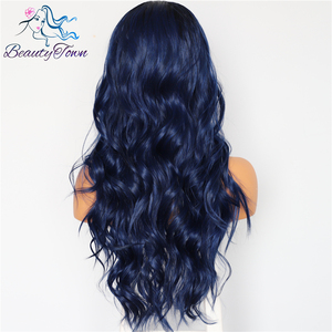 Image 3 - BeautyTown Silk Dark Roots Ombre Blue Natural Wave Women Queen Daily Makeup Wedding Party Present Synthetic Lace Front Wigs