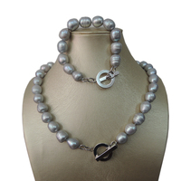 100% NATURE FRESH-WATER PEARL SET NECKLACE AND BRACELET-BIG RICE SHAPE.IN gray COLOR