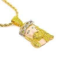 2016 neue Ankunft Inlay Bunten CZ imitiert zirkonia Drip Alloy Anhänger Gelbes Gold Füllte Weinen Jesus Kopf Anhänger Halskette