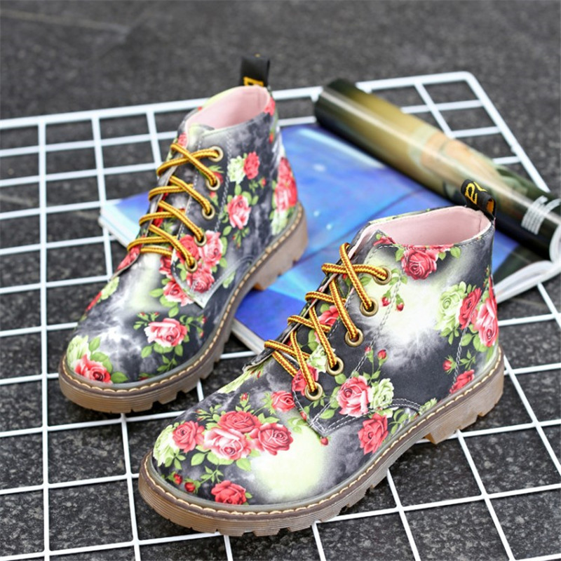 Image 5 - COOTELILI Autumn Women Ankle Boots Low Heels Flower Flats Casual Shoes Woman Oxfords Lace Up Motorcycle Booties Plus Size 40-in Ankle Boots from Shoes
