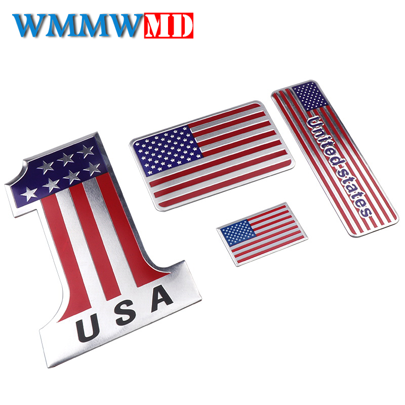 Car Styling Auto USA Sticker 3D Metal For American Flag Logo Badge Emblem Decal Decoration For Ford Cadillac Chevrolet Dodge