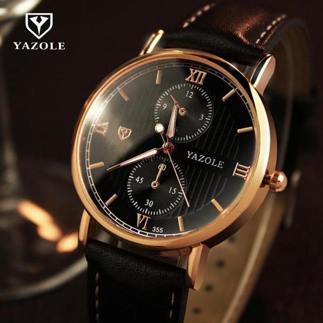 1ad3c858196 Moda Original YAZOLE Backlight Quartz Vestido relógio de Pulso Relógio de  Pulso de Couro Inglaterra Estilo
