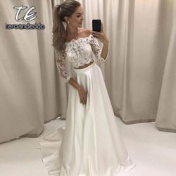 Из двух предметов кружево Атлас Свадебные платья три четверти рукава линия пол длина развертки Поезд свадебное платье Vestido De Noiva