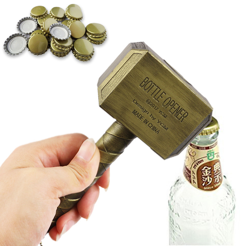 Creative funny bottle opener thors hammer shape beer opener wine corkscrew beverage wrench jar opener bar tool barware decor in openers from home garden