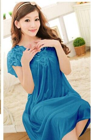 Free shipping women White lace sexy nightdress girls plus size Large size Sleepwear nightgownY02-1 5