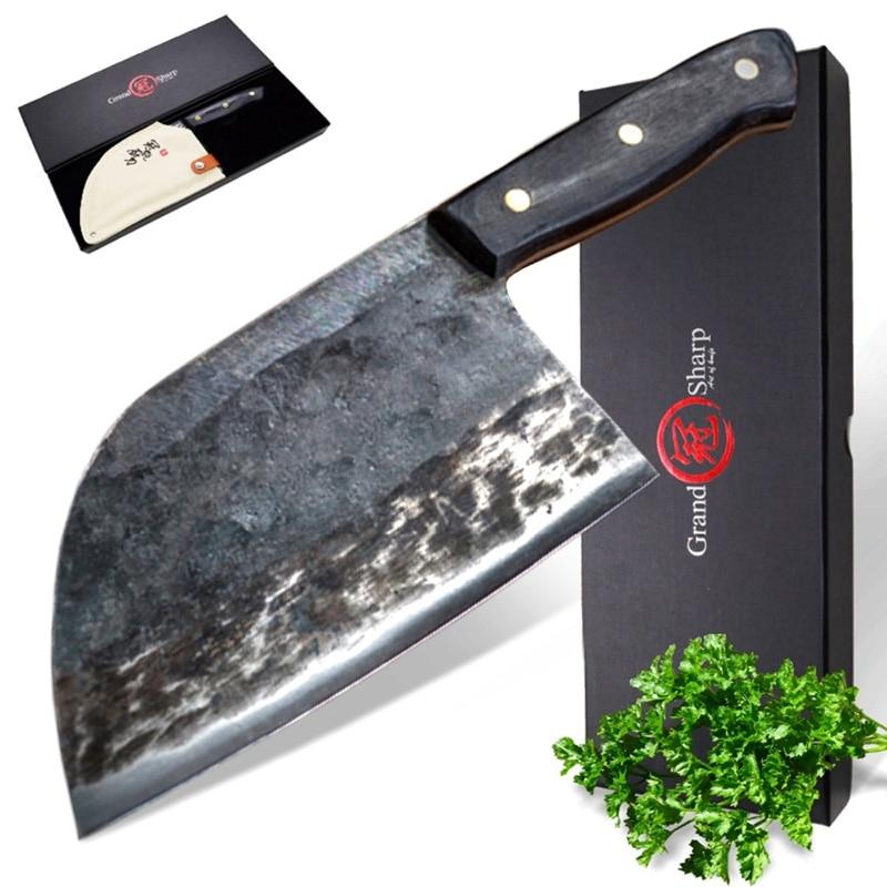 7 Cal ręcznie kute nóż szefa kuchni platerowane kute ze stali chiński tasak o wysokiej zawartości węgla profesjonalna kuchnia szefa kuchni noże z pudełko w Noże kuchenne od Dom i ogród na AliExpress - 11.11_Double 11Singles' Day 1