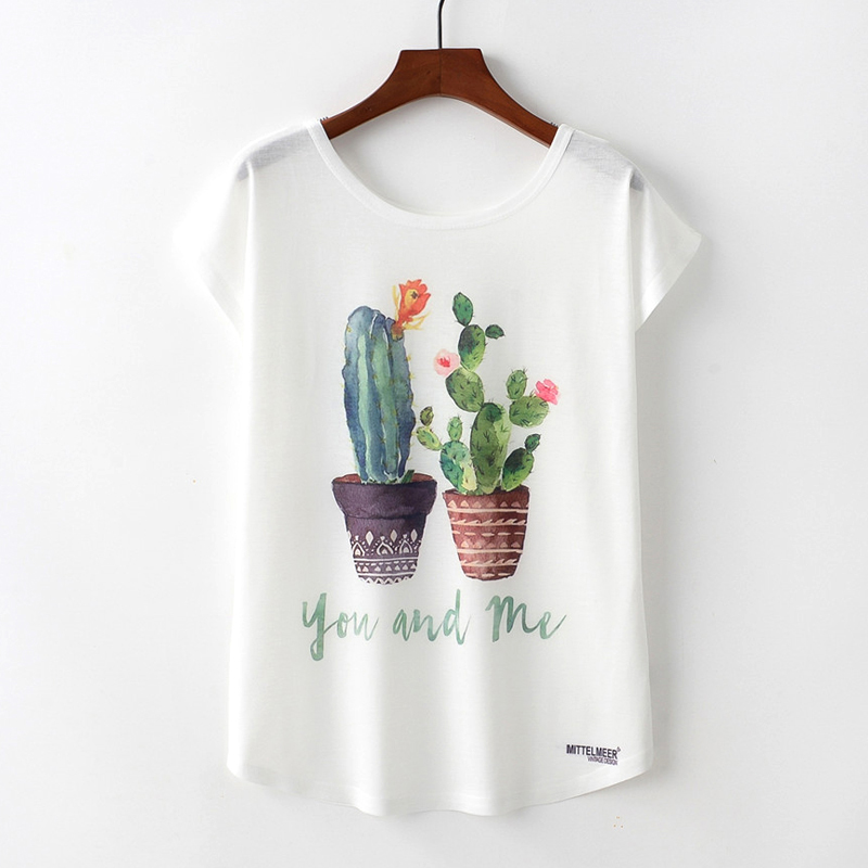 Summer Women Short Sleeve Print T Shirt YOUANDME Cactus Loose Round Neck Women Clothng Casual Party Streetwear T-Shirt Female