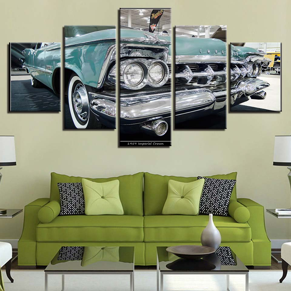 US $5.92 40% OFF|HD Framework Home Decoration Pictures Printed Canvas 5  Panel Car Retro Living Room Wall Art Modular Cuadros Poster Painting-in ...