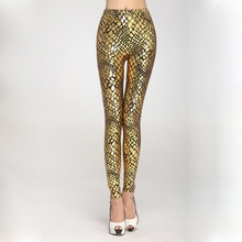 2016 Sexy Gothic Faux Leather Leggings for Women Retro Serpentine Cracked Leggings Skinny Pants Plus Size Gold Silver Leggins