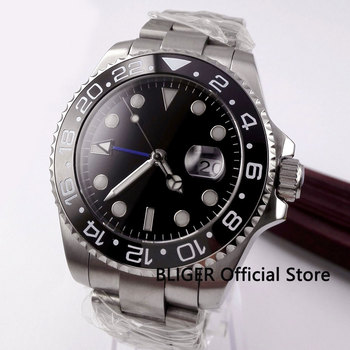 BLIGER Sterile Dial Sapphire Crystal Automatic Men's Watch With Date Window Blue GMT Hand Ceramic Bezel 40mm Watch Case