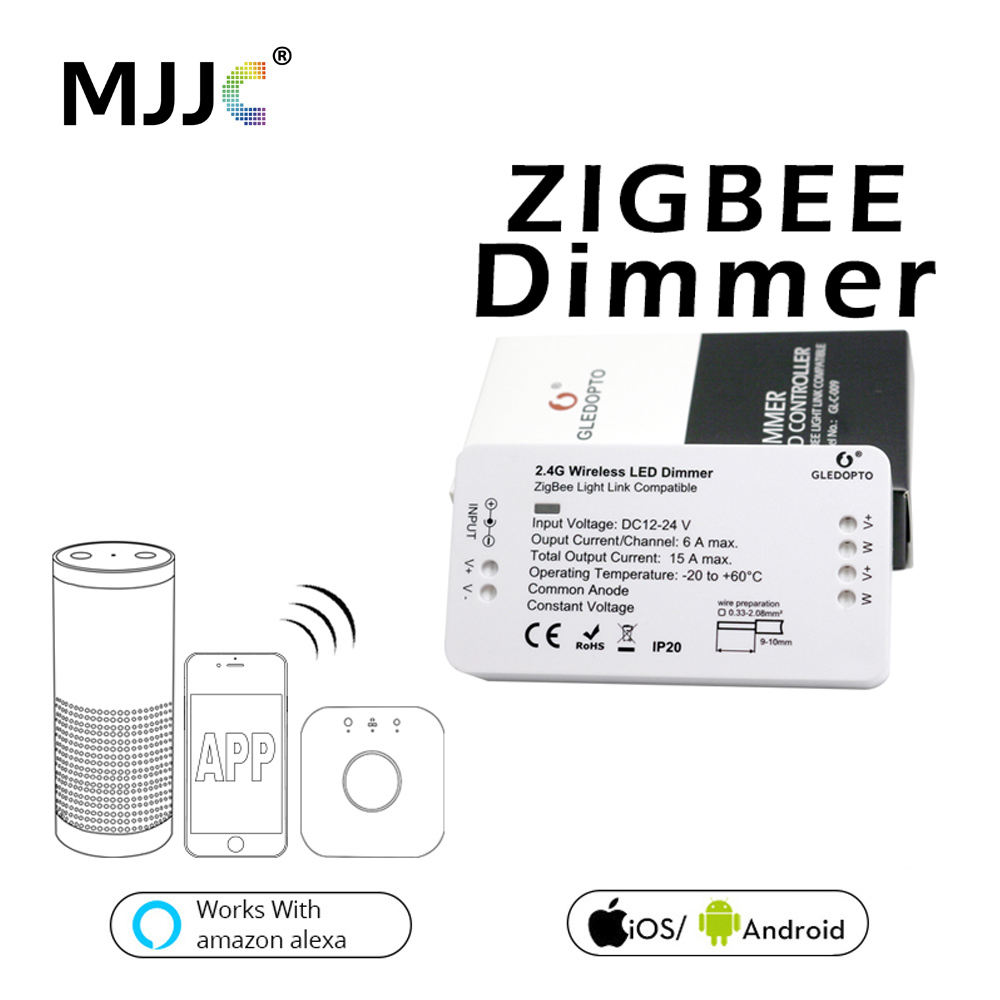 Zigbee LED Dimmer DC 12V 24V 360W Smart APP Control Light Strip Voltage Regulator Light Dimmer For LED Strip Power Controller portable 512 ic control led light source strip controller black red dc 5 24v