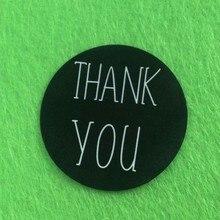 wholesale Round black print thank you sticker label custom made sticker label personalized logo sticker label moq 1000pcs