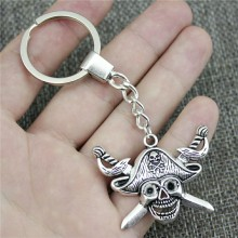 Keyring 45x34mm Pirate Skull With Sword 2 Colors Antique Bronze Silver Color Men Jewelry Car Key Chain Ring Holder