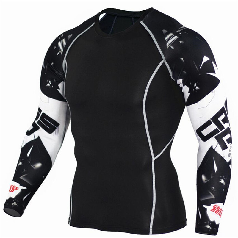 2019 Men Compression   Shirts   Skinny   t     shirt   Long sleeve   T  -  shirt   Gyms Fitness Tee Tops Male Crossfit Sportswear MMA Brand Clothing
