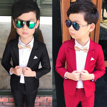 Wedding Boy Dress blazer pant Child Suit Color red and black, Gentle slim Baby Boy costume School Performance show Kid Suit недорого