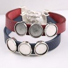 reidgaller 5pcs cuff leather bracelet cabochon base setting 12mm dia blank bracelets bangle bezel trays diy jewelry making