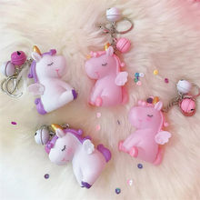 Fantasy cute pony soft rubber doll vocal unicorn keychain plush toys keychain ladies car bag keychain Christmas birthday gift(China)