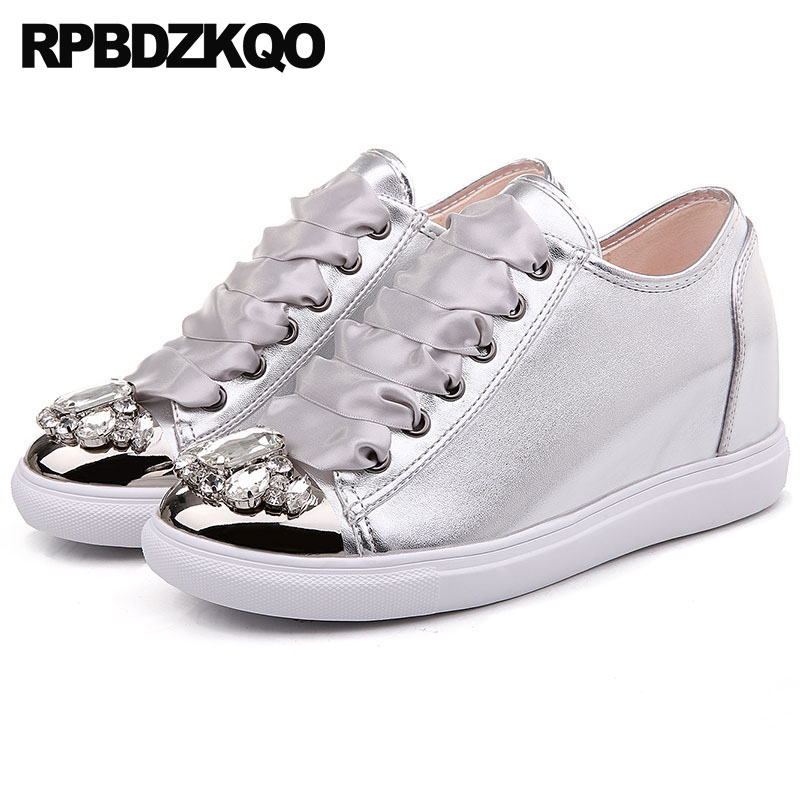 latest silk metal wedge silver trainers