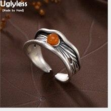 Uglyless Plata de Ley 925 auténtica Natural naranja ágata mujeres Vintage anillos tallado A Mano hoja de loto anillo étnico Nepalés joyería