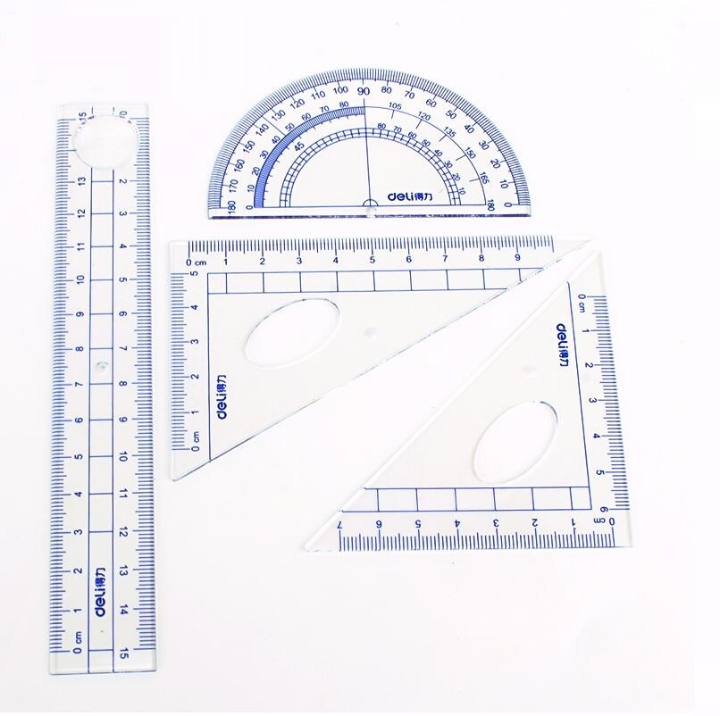 Multifunctional Combination Rulers Triangle Ruler Protractor School Stationery; 4 Ruler/Set  No.9597