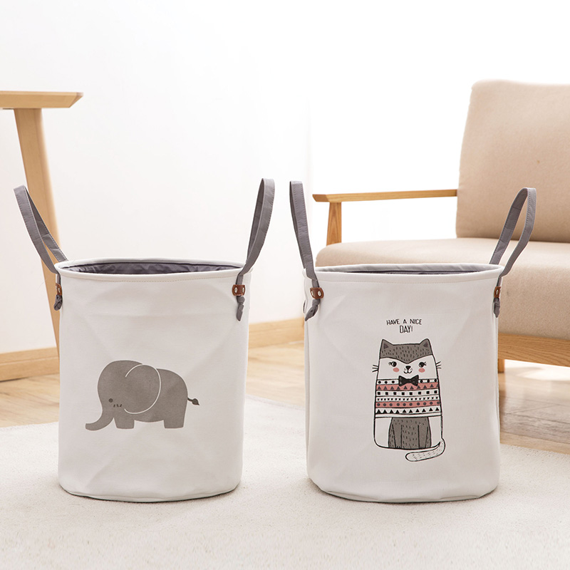 Square Collapsible Canvas Storage Box Foldable Kids Toys: Large Fabric Laundry Basket Cartoon Folding Canvas Dirty