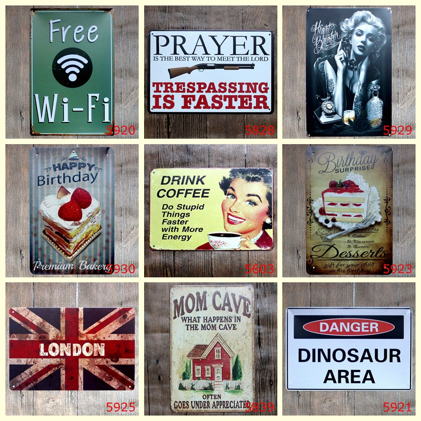 Poetry \ Snack \ Warning Slogan Metal Signs Gift PUB Wall art Painting Poster Wall Stickers Bar Pub Craft Decor Mix order image