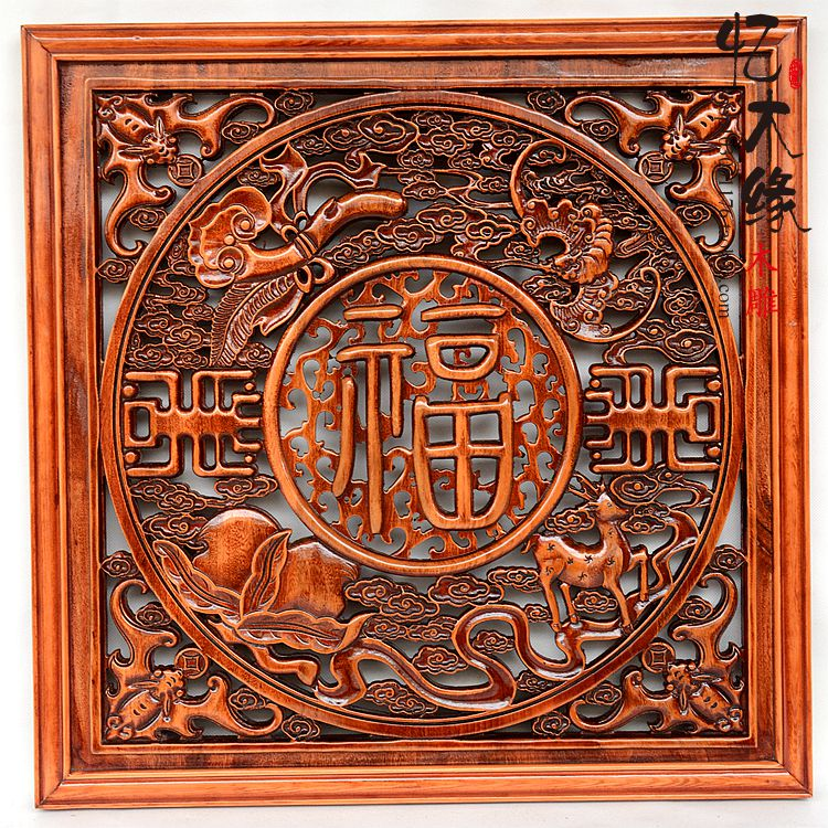 Dongyang wood carving wood panel background Chinese living room 80 square Home Furnishing camphor wood pendant Pendant