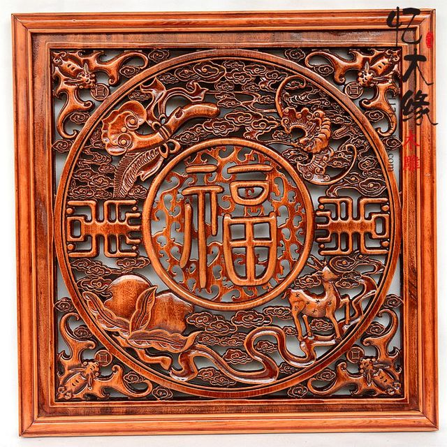Dongyang Wood Carving Panel Background Chinese Living Room 80 Square Home Furnishing Camphor