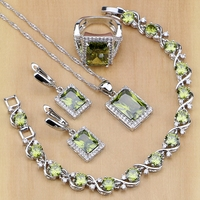 Square 925 Sterling Silver Jewelry Olive Green Created Topaz Jewelry Sets For Women Earrings Pendant Necklace