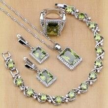 Cuadrado de 925 Joyas de Plata de Oliva Verde Cubic zirconia Joyería Fija Para Las Mujeres Pendientes/Colgante/Collar/Anillos/pulsera