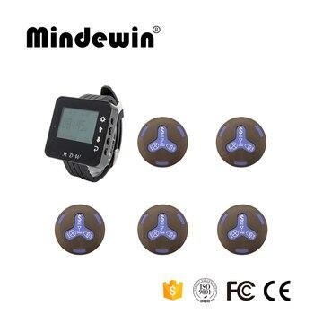 Mindewin 2017 New Type Restaurant Equipment Calling Waiter 1pc M-W-1 Watch Pager +5 pcs M-K-4 Call Button Wireless Call