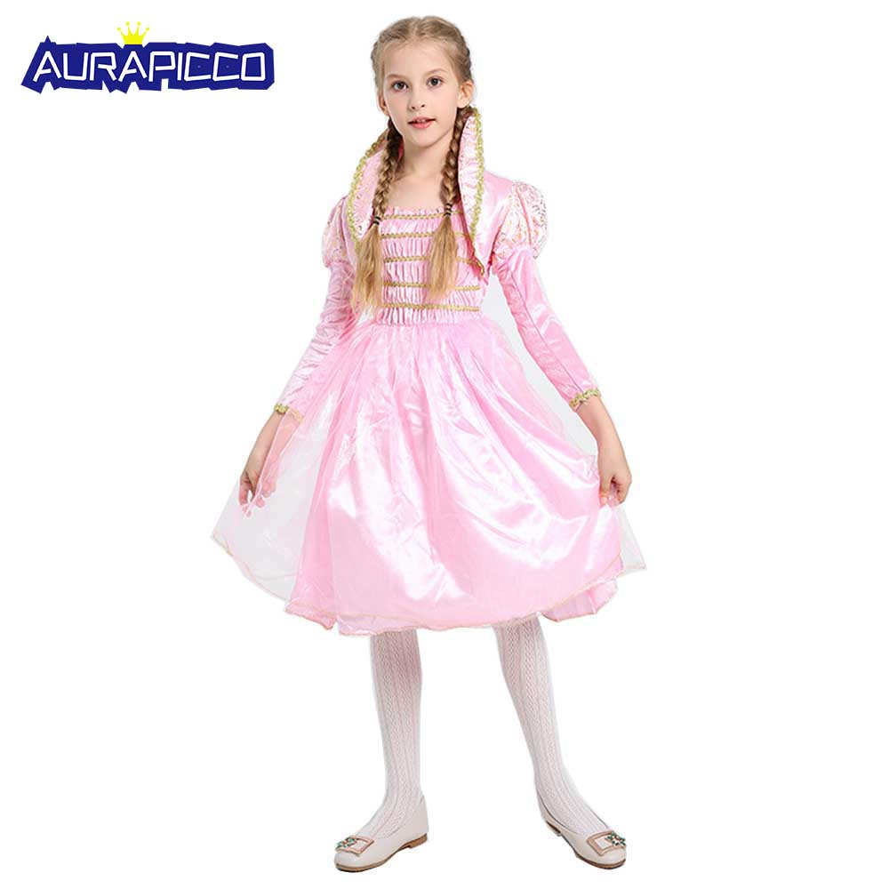 Little Pink Princess Child Costume Deluxe Fairytale Princess Dress Birthday Party Dress Christmas Halloween Costumes for Kids