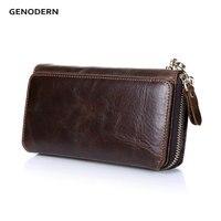 GENODERN New Long Purses For Men Genuine Leather Men Wallets With Multi Card Holders Brown Cowhide
