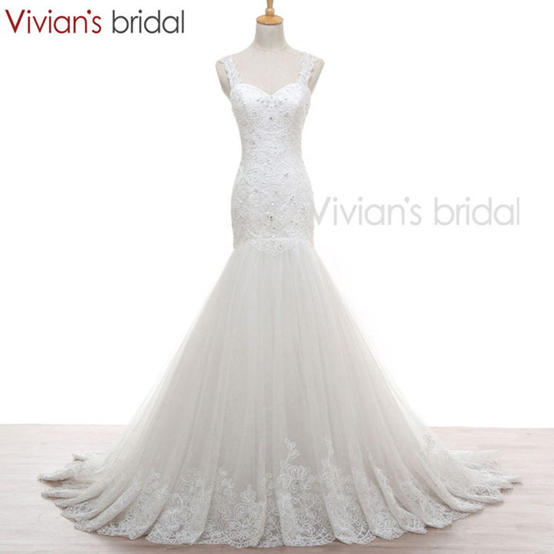 Vivian 39 s bridal mermaid wedding dress sweetheart see for See through lace wedding dress