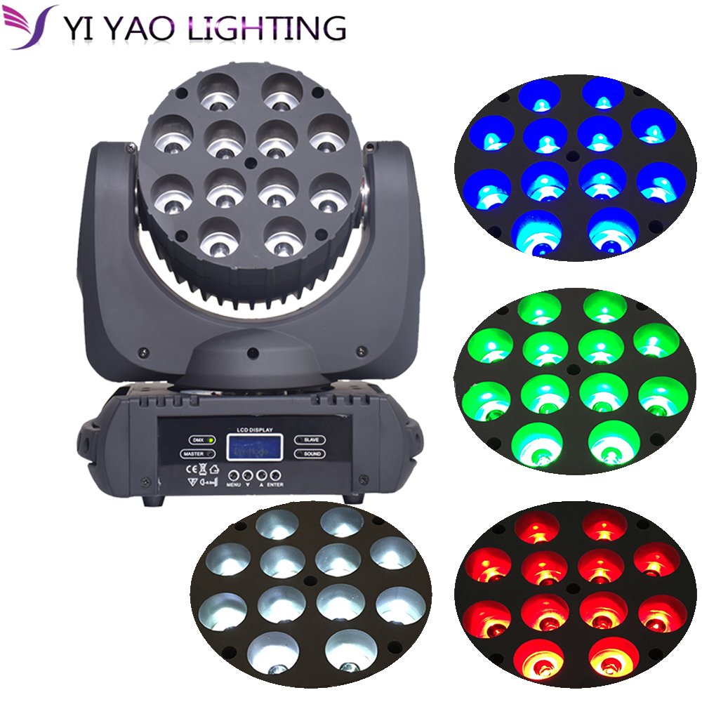 Moving Head Light 12x12W Stage Light RGBW LED 4 In 1 DMX 8/16CH Channel 4 Control Mode Disco Party Club Bar DJ