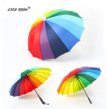 LIKE RAIN Large Strong Windproof Umbrella Semi-Automatic 16K Rainbow Golf Long Handle Paraguas Waterproof Umbrella Cover UBY51