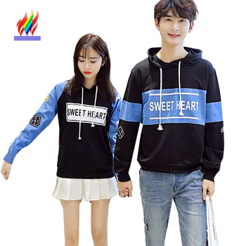 Autumn Winter Outerwear Couple Clothes Casual Tops Letter Printed Sweatshirt With A Hood Korean Matching Couple Hoodies Lovers Платье